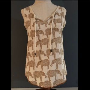 Lucky Brand elephant top with ties. Size M